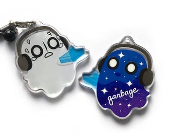 Napstablook Blooky the Garbage Ghost Acrylic Charm - Reversible & Double-Sided Undertale Keychain