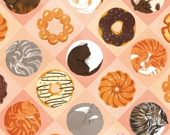 Cats & Donuts Art Print
