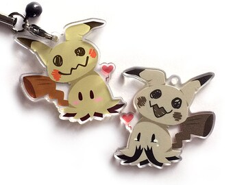 Mimikyu Charm - Shiny Reversible Ghost Pokemon Keychain