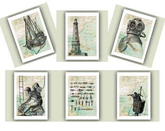 Nautical prints, dive print, Scuba Diver helmet,sailor knots,lighthouse,antique map East America, diving beach cottage decor, set of 6