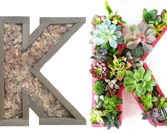 Succulent Letter Planter Initial Monogram Planter 12 inch to 22 inch FREE SHIPPING Indoor Outdoor Vertical Planter