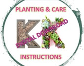 Digital Download PLANTING and CARE Instructions for Letter Planters