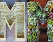 Letter Planter 14 inch DIY Letter Planter Box Initial Monogram for Succulents or Plants Indoor or Outdoor Vertical Planter or Centerpiece