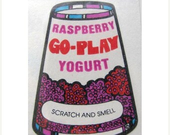 SALE Vintage Mello Smello Scratch and Sniff Berry Yogurt Sticker - 80's Go-Play Raspberry Strawberry
