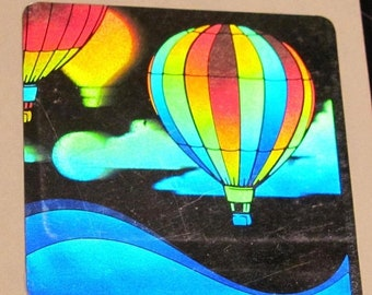 SALE Hot Air Balloon Vintage Light Impressions Hologram Sticker - 80's Holographic Sky Cloud Rainbow Collectible