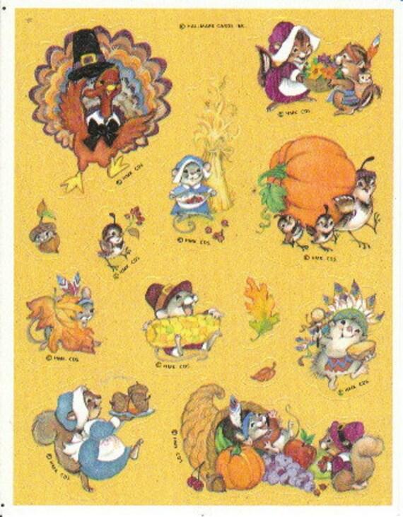VTG 80s American Greetings Sticker Sheet~THANKSGIVING~Pilgrim~Turkey~Indian~Leaf