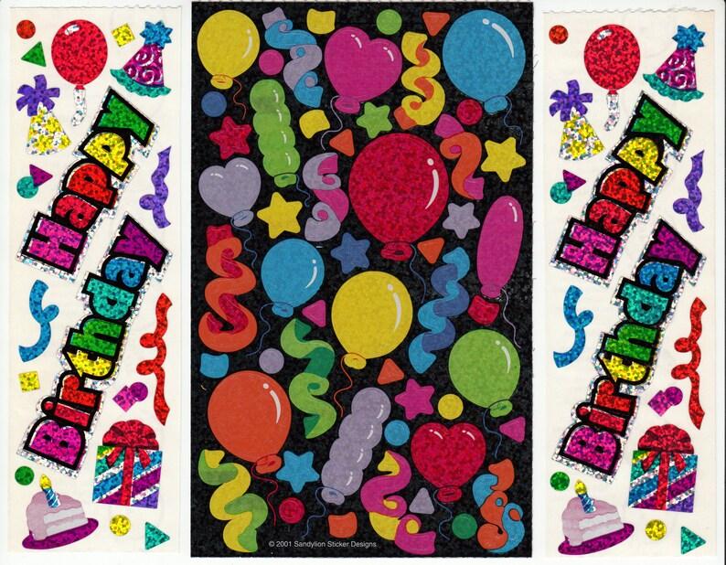 Happy Birthday Sandylion Glitter Vintage Maxi Sticker Sheet Lot - Prism  Party Confetti Balloon Cake Gift Celebration Collectible