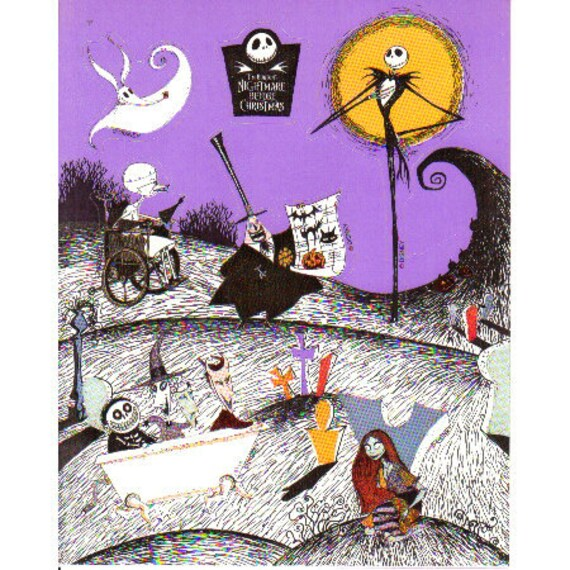 Tim Burton Nightmare Before Christmas Artwork.Vintage Nightmare Before Christmas Sticker Sheet Tim Burton Cartoon Animation Illustration 1993 Movie Scrapbook Collage