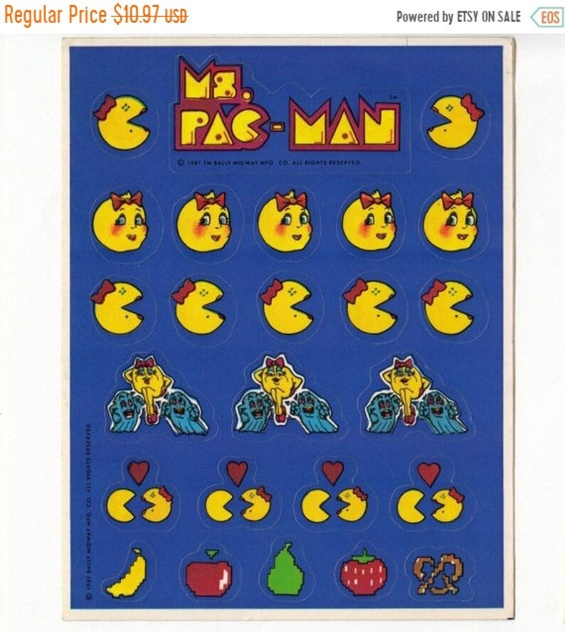 Sale Ms Pac Man Rare Vintage Hallmark Sticker Sheet Etsy