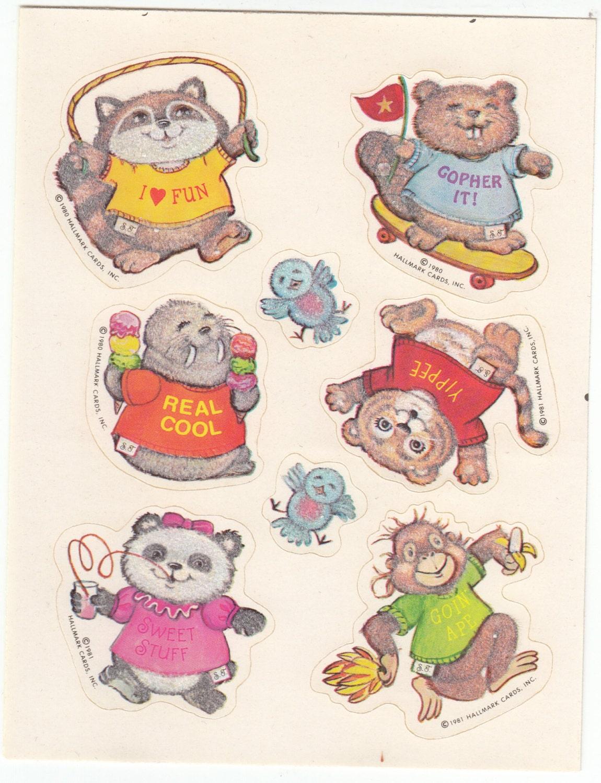 Rare Vintage Hallmark Fuzzy Shirt Tales Sticker Sheet - 80's Retro Cartoon  Raccoon Koala Penguin Monkey Panda Flocked Scrapbook