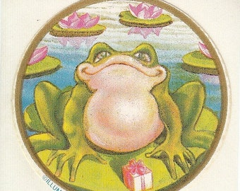 SALE Rare Vintage Illuminations Frog on a Lilypad Sticker - 80's Lily Toad Pond