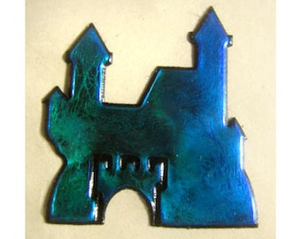 Castle Rare Vintage Oilie Liquid Sticker - 90's Oily UFO Cobalt Turquoise Blue Green Iridescent Tower Collectible