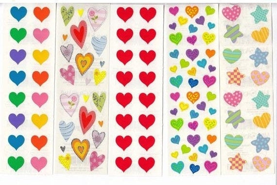 SMALL Strip of NEW SPARKLE RAINBOW Stickers/' Mrs Grossman RAINBOW