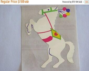 SALE Sandylion Mylar Circus Horse Pony Vintage Sticker - 80's Foil Silver Reflective Mirrored Carousel Scrapbook