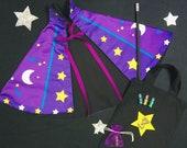 Magician cape costume set, Wizard cape ,Personalised kids costume, Magic wand set