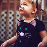 Girls Halloween cat dress costume , baby dress, toddler girls dress,pinafore dress pretend play
