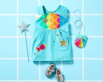 Girls rainbow fish pinafore dress , toddler rainbow fish costume