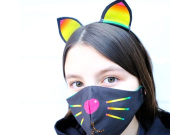 Halloween Cat face mask , kids  face mask, halloween cat set