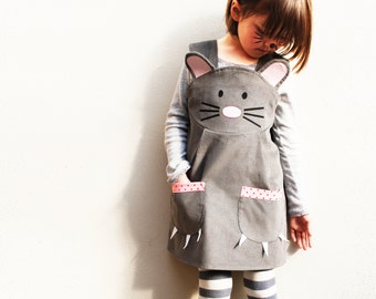 Girls mouse animal dungaree dress handmade in the UK in grey corduroy