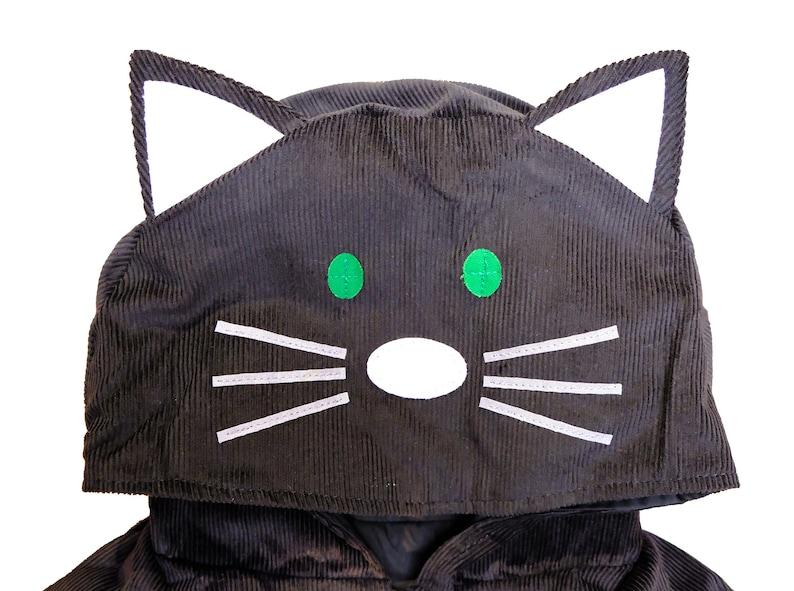 Cat fancy cape handmade in black velvet corduroy