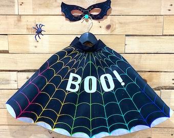 Cobweb Halloween Hero Cape and Mask set, personalised glow in the dark cape.