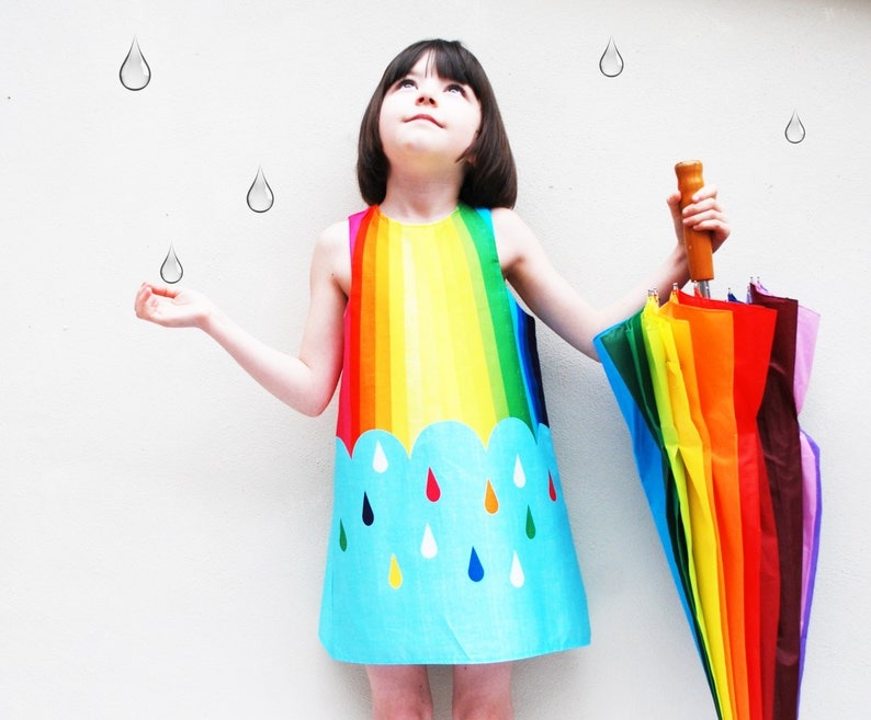 Girls Dress in rainbow spectrum print image 0