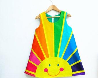 Rainbow of hope sunrise A line dress ,Happy face, spectrum print.