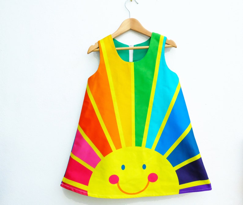Rainbow of hope sunrise A line dress Happy face spectrum image 0