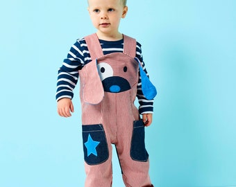 Puppy dog dungaree , toddler boy, girl overalls in red stripe