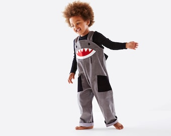 Shark dungaree kids overalls by Wild Things