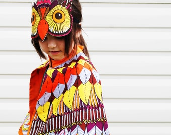 Kids, teen, adult Owl dress up costume super hero cape and mask set