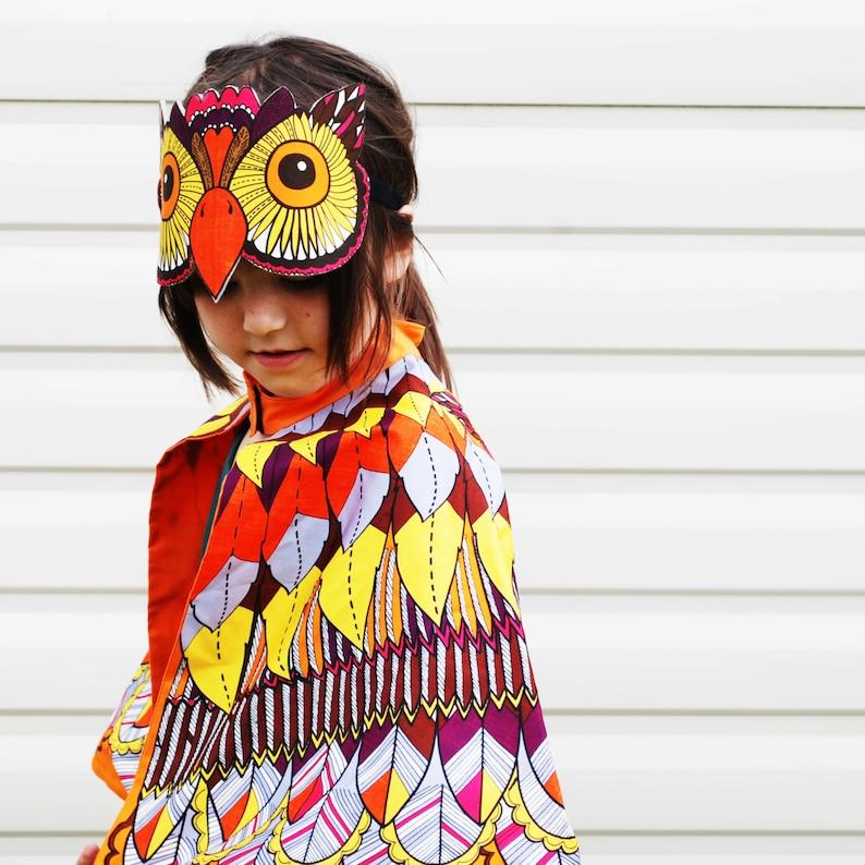 Kids teen adult Owl dress up costume cape and mask set image 0