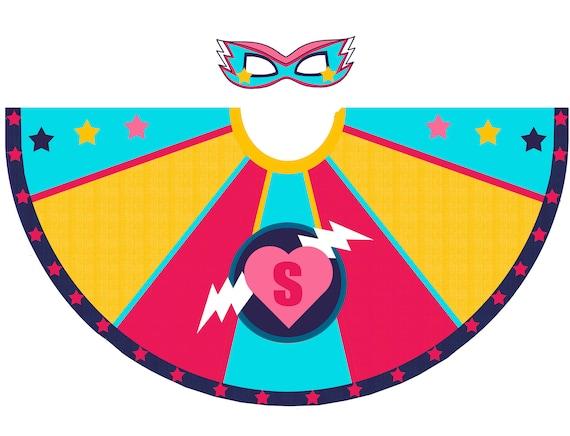 Kids Superhero Capes Personnalisé Nom éclaircissant Boulon Costume Filles Garçon Cosplay