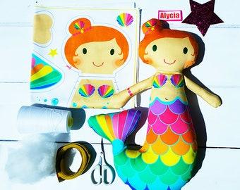 Mermaid craft plush doll kit make your own DIY personalised rag doll