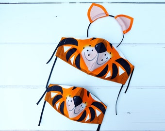 Tiger face mask , kids family face mask, animal character, cotton face covering