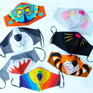 Kids Face Mask, fun child, adult family twinning cotton washable mask, character, cat , shark ,bunny, lion, tiger, dog, animal , covering
