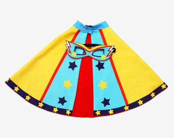 Personalised Superhero Cape and mask set, super boy, super girl, super hero gift, party cape, power cuffs