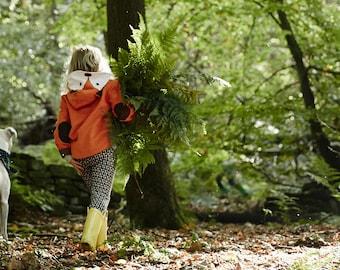 Wild Things fox coat jacket kids in orange moleskin dress up