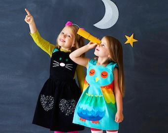 Owl Dress for girls babies in aqua rainbow