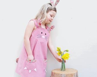 Bunny Rabbit  dress with British Liberty print trim