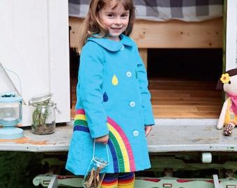 Rainbow coat jacket for toddlers, children in rich blue moleskin