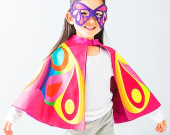 Kids Butterfly Super Hero Cape and mask dress up carnival costume set