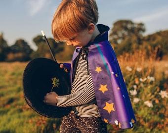 Magician cape , Wizard cape ,Personalised kids , Magic wand set