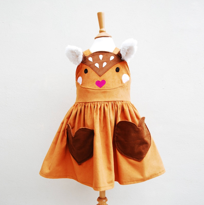 Bambi girls pinafore dress  baby deer fawn costume image 0