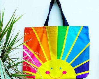 Oversized bag holdall , happy face, sunrise, rainbow of hope , spectrum print.