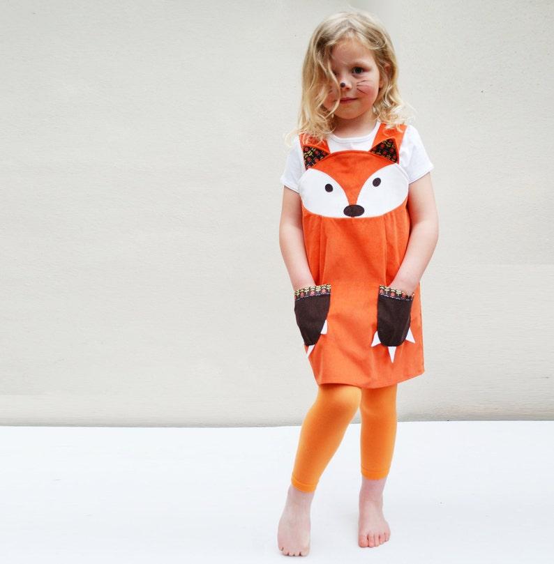 Fox girls Dress original play pinafore in orange corduroy image 0