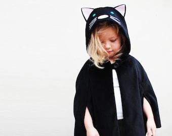 Cat fancy cape handmade in black cord