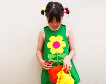 Green flower dress for girls and babies