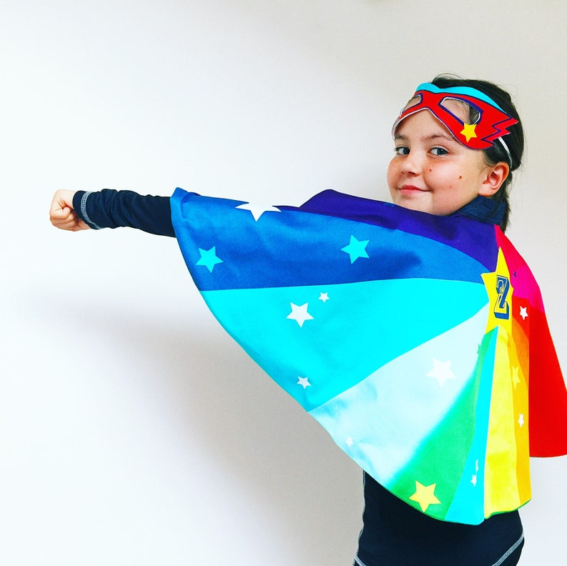Personsalised Kids Super hero Cape and mask dress up set Super image 0