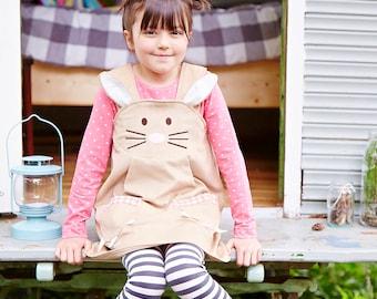 Bunny Rabbit girls pinafore dress in caramel or pink cord